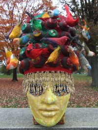 birds,found objects,beads,Eva Preston mask,paper yarn,