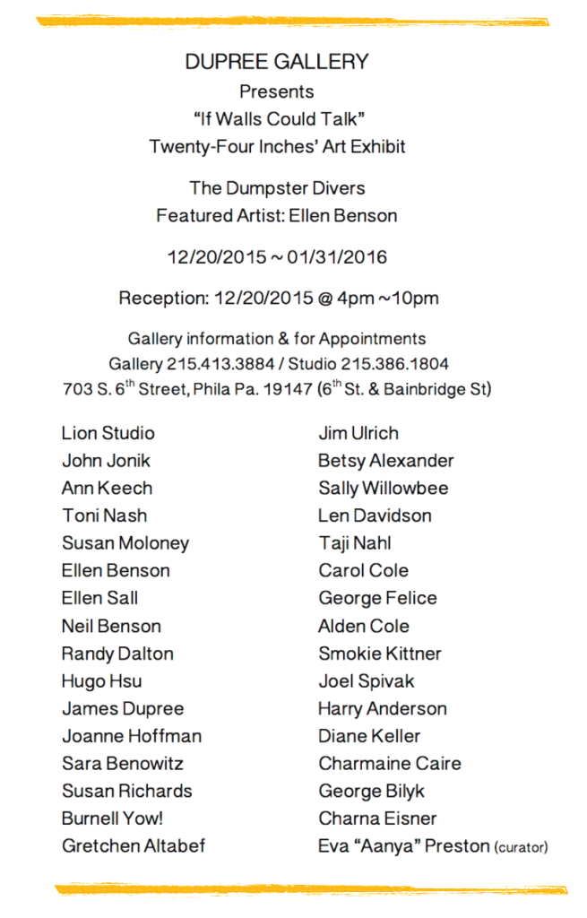 James Dupree Gallery presents If Walls Could Talk – 2015/16 Group Show